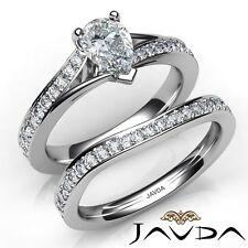 1.98ctw Pave Setting Bridal Set Pear Diamond Engagement Ring GIA F-VS2 W Gold