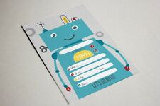 New x10 Robot Birthday Party Invitations with Envelope