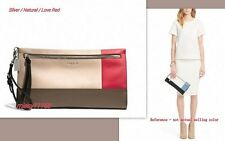 NWT Coach Bleecker Colorblock Large Leather Clutch 51304 Silver/Natural/Love Red