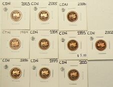 1987 to 2006 Canada Cents Proof Lot of 10 #5207