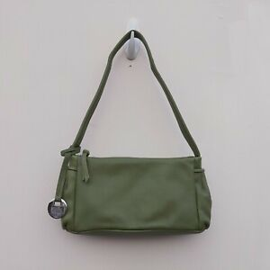 "TULA OLIVE GREEN LEATHER SMALL SHOULDER BAG W9"" X H4.5"" X D3"" NEW FREE UK P&P!!"