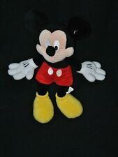 Peluche doudou Mickey DISNEYLAND noir rouge blanc jaune 30 cm TTBE