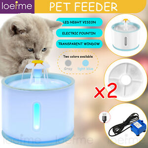 LED Automatic Electric Pet Water Bowl Fountain Dog Cat Drinking Dispenser Filter