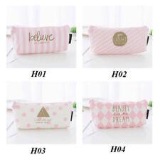 Pink Pencil Case Pen Box School Stationery Cosmetic Makeup Pouch Zipper Bag