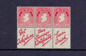 IRELAND 1931-40 3 x 1d BOOKLET PANE + 3 LABELS  Inverted Watermark HP3