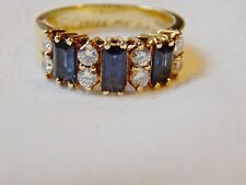 AUTHENTIC VINTAGE CARTIER SAPPHIRE, DIAMOND 18K YELLOW GOLD RING-