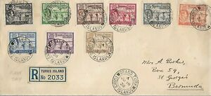 TURKS AND CAICOS JUNE 18 1938 PART SET TO 1/-  REG FD COVER TO BERMUDA REF 2955P