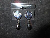 Statement Drop Dangle Earrings Rhinestone Crystal Black Royal Blue Artisan Glass