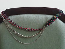 Beautiful boho red & black necklace,Carmin style fabric, beads, distressed metal
