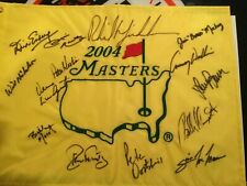 PHIL MICKELSON SIGNED 2004 MASTERS FLAG AUTO + CADDY BONES MACKAY + ANNOUNCERS