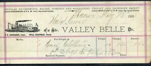 """STEAMBOAT FREIGHT BILL """"Valley Belle"""""""