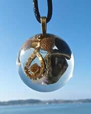 BLACK TOURMALINE and EMERALD Positive Energy Orgone Dome Pendant with Gold Bijou