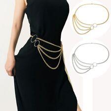 US! Women Waist Chain Belt Metal Dress Waistband Chain Belts Fashion Accessories