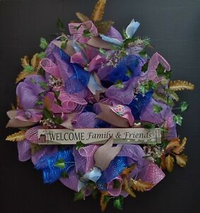 """One 24"""" Purple Blue Deco Mesh Wreath  Welcome Family & Friends New Realtor Home"""