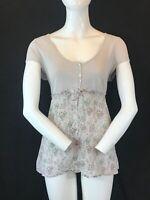 "WHITE STUFF Women's Floral Cotton Cap Sleeve Shirt Blouse Top UK 14 Chest 36"""
