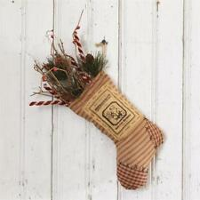 """Primitive Country  Rustic Twig Candy Cane stuffed Stocking 5.75"""" W X 14""""H"""