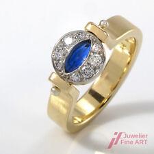 RING in 950er-PLATIN & 18K Gold - Saphir + Diamantbesatz ca.0,32 ct TW-VSI