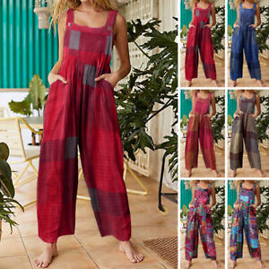 AU Womens Strappy Jumpsuits Casual Romper Plus Size Dungarees Summer Playsuits
