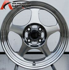 1PC 15X6.5 +40 ROTA SLIPSTREAM 4X100 FULL ROYAL STEEL GRAY WHEEL / MACHINED FACE