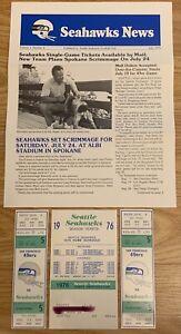 2 TICKETS 1976 NFL Seattle SEAHAWKS vs 49ers 1st TOUCHDOWN & Seahawks Newspaper