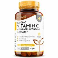 Vitamin C 1000mg & Bioflavonoids, Rosehip - 180 Vegan Tablets - Immune Support
