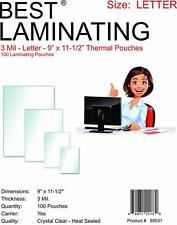 "Best Laminating 3 mil. Letter Laminating Pouches. 9"" x 11.5"". 100 Pack."
