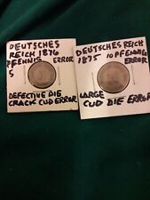 Errors 1875 1876 German Deutsches Reich 5 & 10 Pfennig Beautiful Condition Rare!