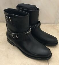 NIB SAINT LAURENT BLACK LEATHER YSL STUDDED MOTO BIKER ANKLE BOOTS 40.5 $1295