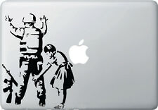 "MB - Girl Frisking Soldier - Banksy Style Macbook Laptop Decal (6""w x 8""h)BLACK"