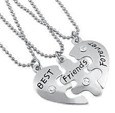 Gioielli ragazza amicizia catena 3 catene Best Friends Forever CUORE PUZZLE