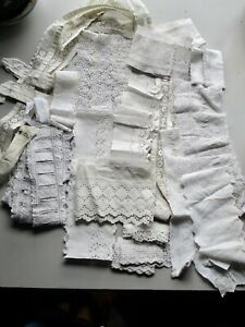 Antique/ vintage lace pieces cotton broderie Anglaise and embroidered lace