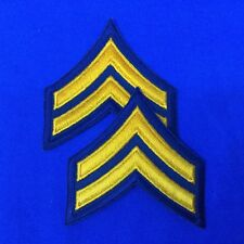 """Police Corporal Stripe Patches 3"""" Dk. Navy With Gold Emb. Set of 2  #P17-12"""