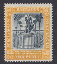 Barbados MINT 1907 Nelson centenary 2d black & yellow sg161
