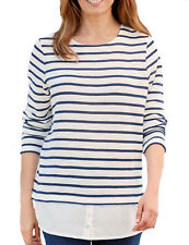 UK Sizes 8 - Plus 34 Ladies Striped Knit Sweater Top With Hem in Navy or Red 26 Blue