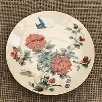 Chinese Peking Series Crown Staffordshire Plate Butterflies On Flowers