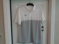 *NEW* Nike Dry Short Sleeve Colorblock Polo White/Gray AO5439-113, Mens Sz L