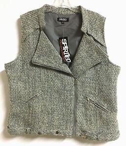 Spirited Randolph Duke Vest Sz XL Gray Beige Tweed Moto Jacket Layer Sleeveless