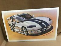 "Dodge Viper Print by Bob Hubbach 1995 Measures 17"" x 11"""