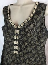 THE TERRITORY AHEAD Brown Tan Sleeveless Dress Leaf Leaves Frog Closures SZ 12