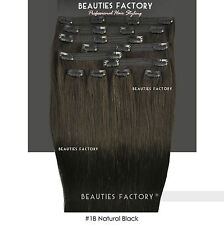 Double Weft Thick Deluxe 20 Inch Clip in 100 Remy Human Hair Extension Natural Black 200 Gram