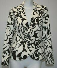NEW Carolina Herrera Jacket Blazer Coat Cotton Long Sleeve White Black Brown 8