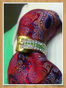 TIE RING wedding SUIT 24K tone RARE COLOR Sky clear stones authentic new gift