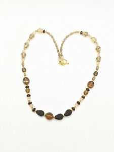 Artisan Gold Tone Amber Color Glass Brown Bead Toggle Necklace