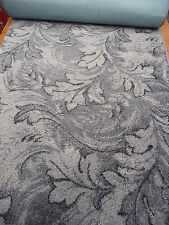 152 x 29 inch (386 x 74cm) BLUE GREY LEAF DESIGN RUNNER SOFT PILE #1818