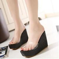 Womens Beach Platform Flip Flops Sandals High Heel Wedge Transparent Shoes !