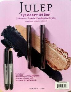 NWT Julep 2 pack  Crème to Powder Eyeshadow Sticks- Champagne Shimmer/Midnight