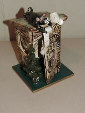 Great Blue Sky Pottery Outhouse Tealight Nighlight Cover On Tile, Artist Signed