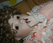 """Toddler with her Bunny big 21"""" doll Porcelain Bisque head cloth body Handmade"""