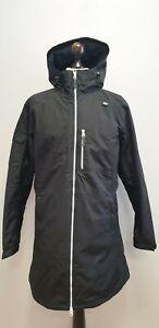 WOMENS HELLY HANSEN BLACK FULL ZIP LIGHTWEIGHT HOODED LONG RAIN COAT UK XL EU 42