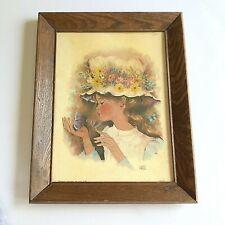 Vintage 1960s Girlfriend Litho Framed Art Print No Glass 9 x 12 Print